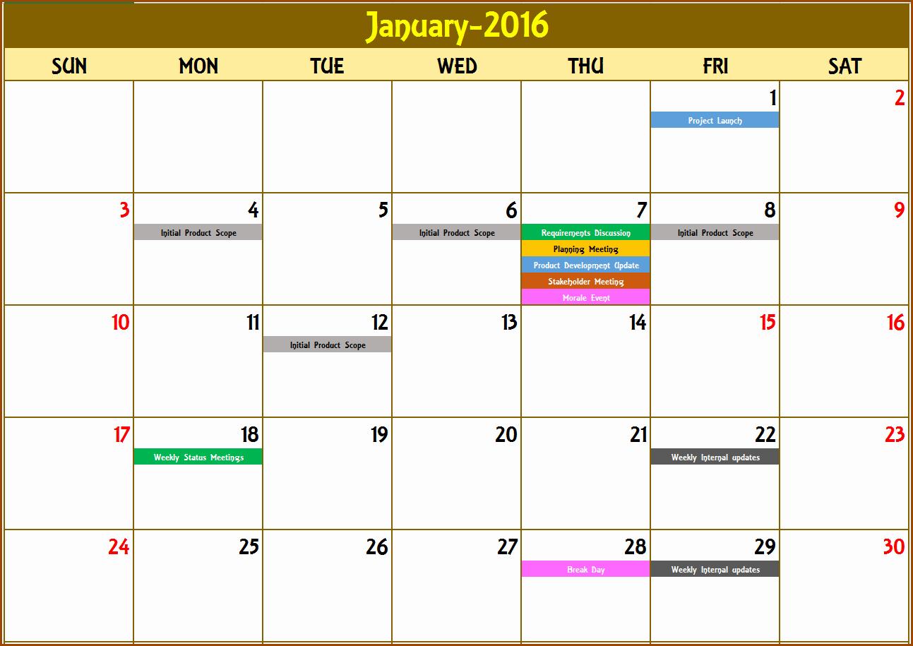 Weekly Calendar Template Excel Fresh Excel Calendar Template Excel Calendar 2018 2019 or Any