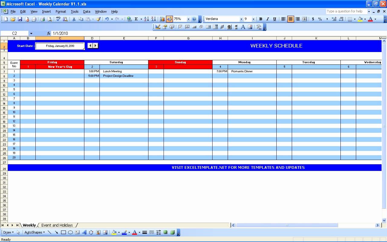 Weekly Calendar Template Excel Inspirational Weekly Calendar