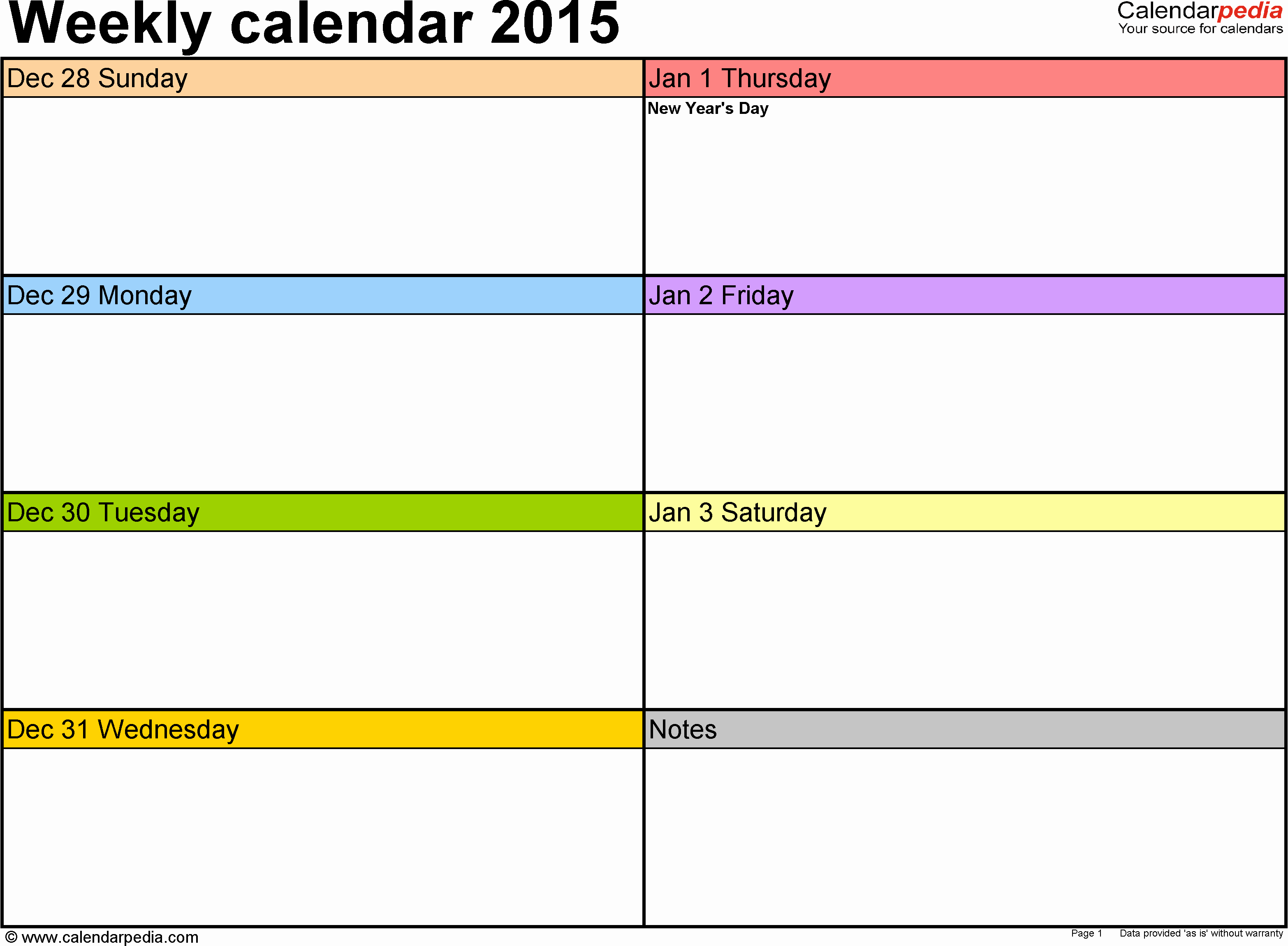 Weekly Calendar Template Excel Lovely Weekly Calendar 2015 for Excel 12 Free Printable Templates