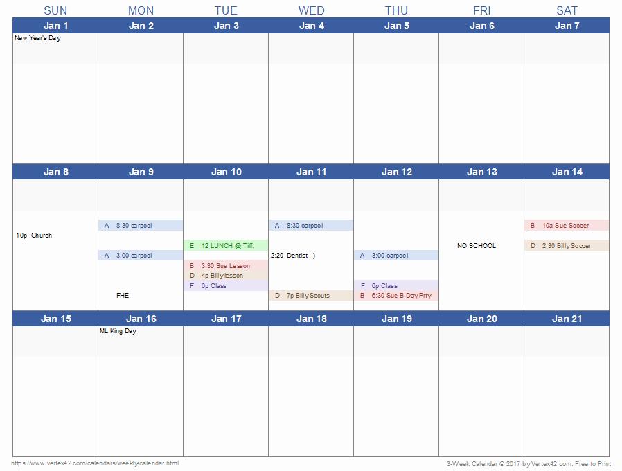 Weekly Calendar Template Excel Luxury Weekly Calendar Template for Excel