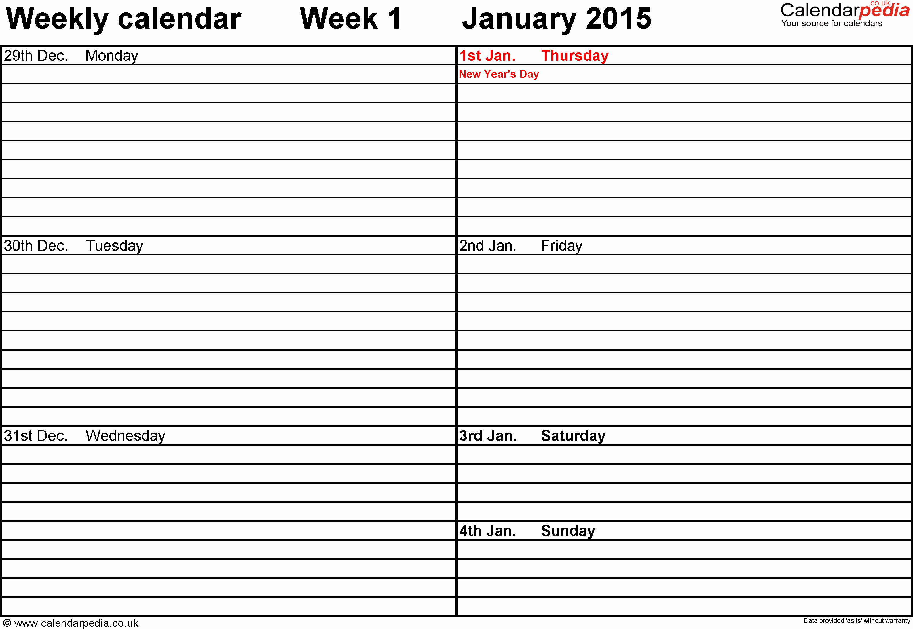 Weekly Calendar Template Excel Unique Weekly Calendar 2015 Uk Free Printable Templates for Excel