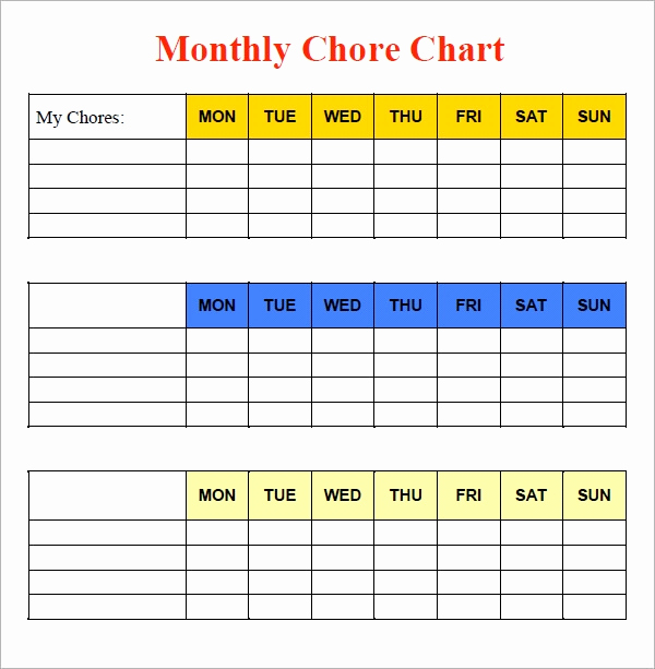 Weekly Chore Chart Template Elegant Sample Chore Chart 9 Documents In Word Excel Pdf