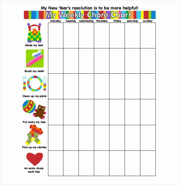 Weekly Chore Chart Template Inspirational Weekly Chore Chart Template 24 Free Word Excel Pdf