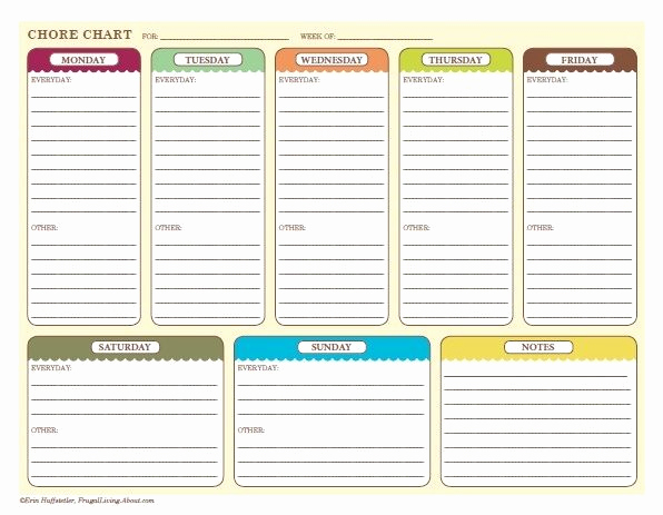 Weekly Chore Chart Template Luxury Free Printable Chore Charts for Kids and the whole Family