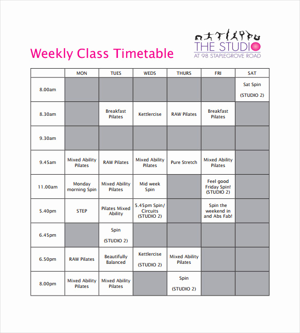 Weekly Class Schedule Template Awesome Timetable Templates – 14 Free Word Pdf Documents