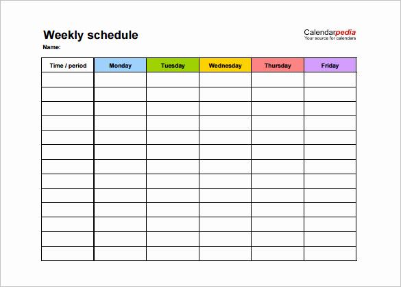 Weekly Class Schedule Template Elegant Weekly Schedule Template 12 Free Word Excel Pdf