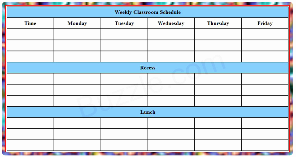 Weekly Class Schedule Template Fresh Printable Weekly Class Schedule Template