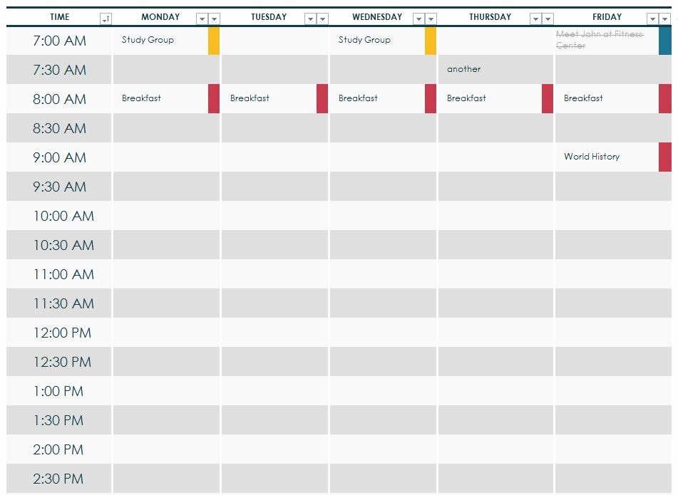 Weekly Class Schedule Template Luxury College Class Schedule Template
