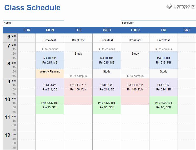 Weekly Class Schedule Template Luxury Weekly Class Schedule Template for Excel