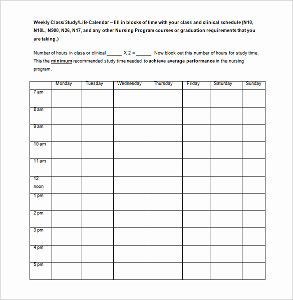 Weekly Class Schedule Template Unique Class Schedule Template 36 Free Word Excel Documents