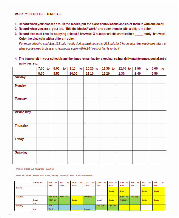 Weekly Class Schedule Template Unique Schedule Planner Template 14 Free Word Excel Pdf
