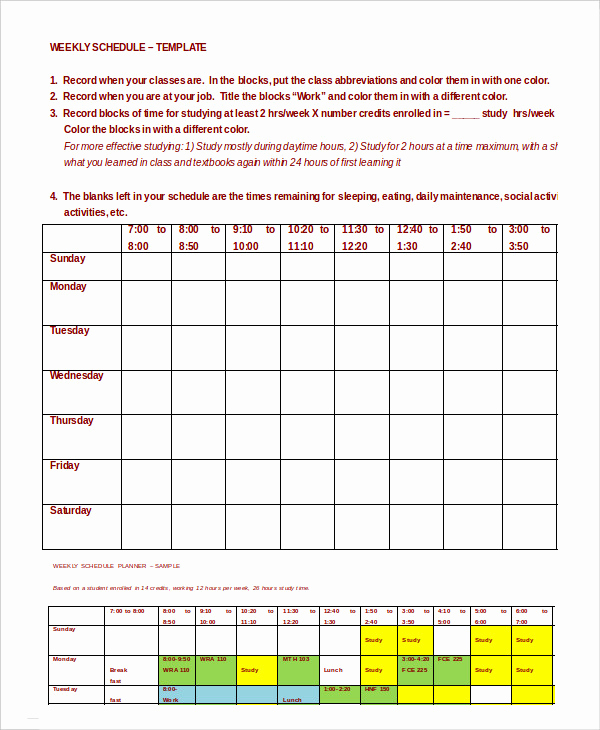 Weekly Class Schedule Template Unique Weekly Schedule Template 10 Free Word Excel Pdf