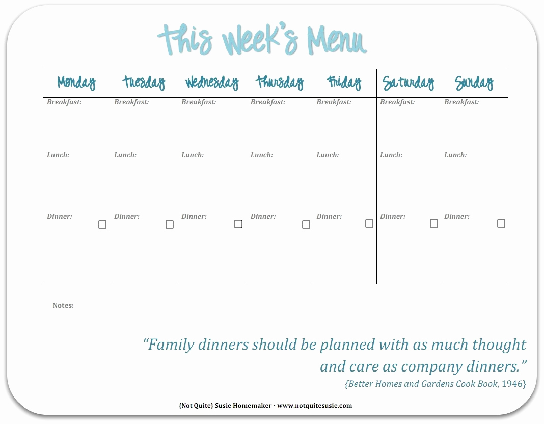 Weekly Dinner Menu Template Awesome Free Printable Weekly Meal Planner Not Quite Susie