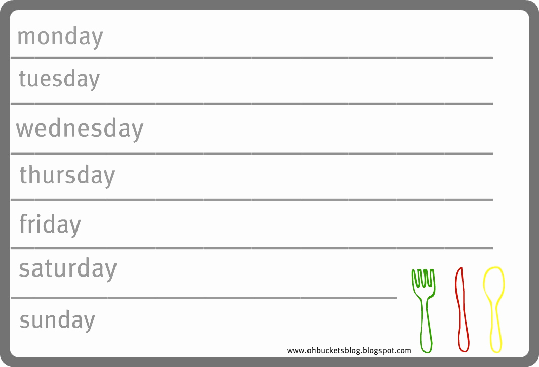 Weekly Dinner Menu Template Awesome Oh Buckets Meal Planning 101