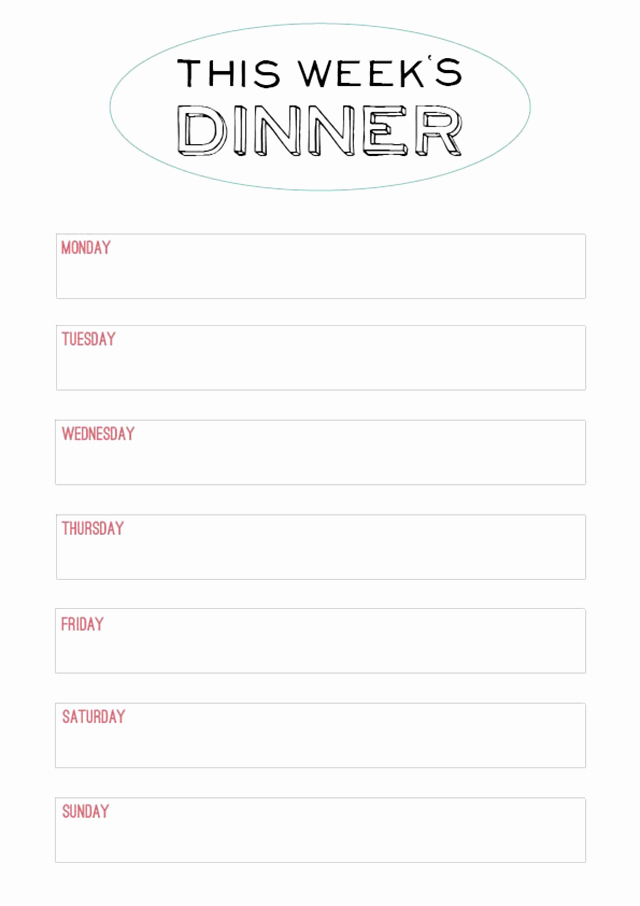 Weekly Dinner Menu Template Best Of Family Style Dinner Printable Menu