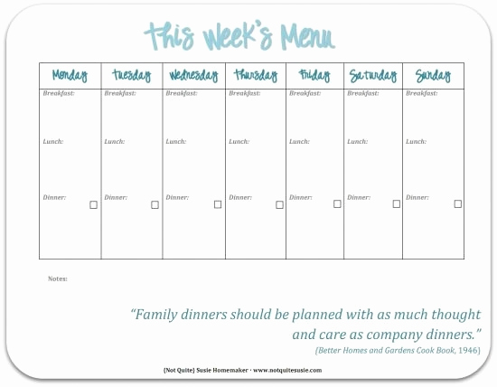 Weekly Dinner Menu Template Elegant 30 Family Meal Planning Templates Weekly Monthly Bud