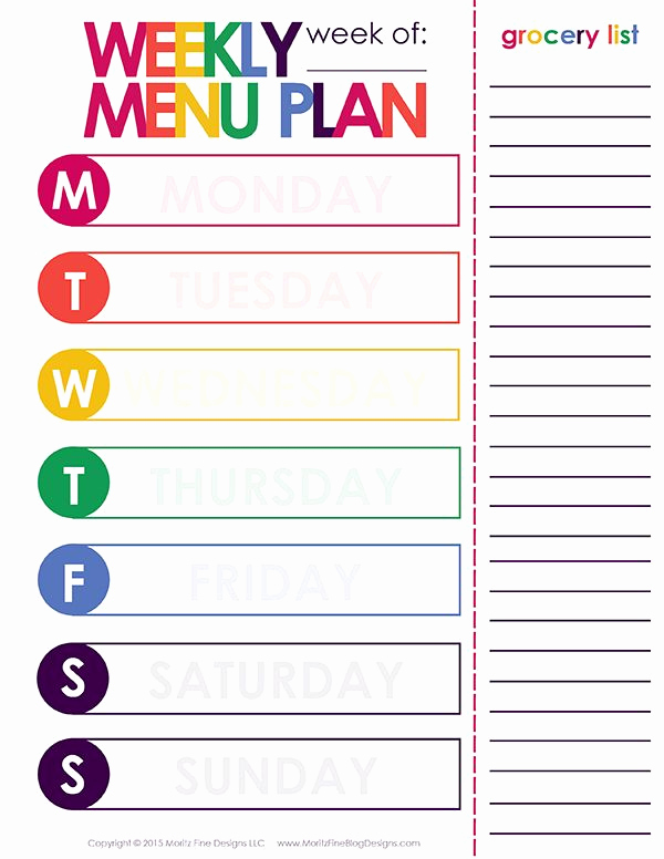 Weekly Dinner Menu Template Elegant Weekly Menu Plan Printable