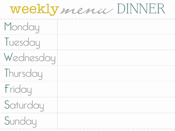 Weekly Dinner Menu Template Fresh Pinterest • the World's Catalog Of Ideas