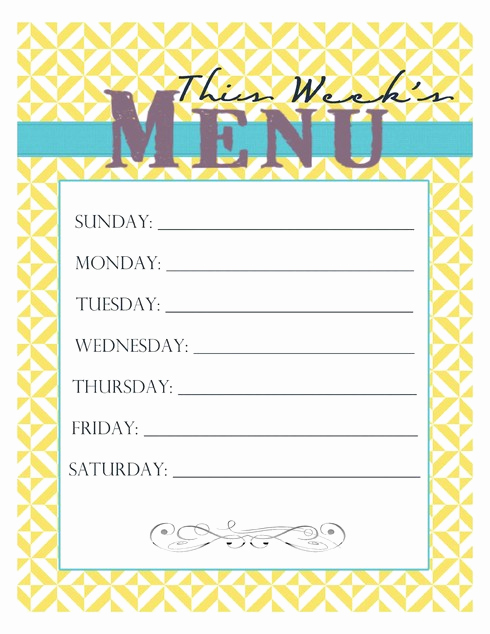 Weekly Dinner Menu Template Luxury 20 Free Menu Planner Printables