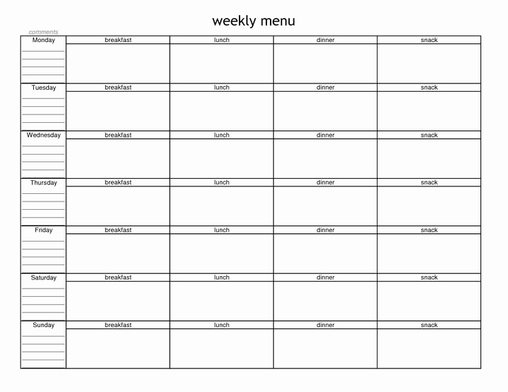 Weekly Dinner Menu Template Luxury Blank Weekly Menu Planner Template