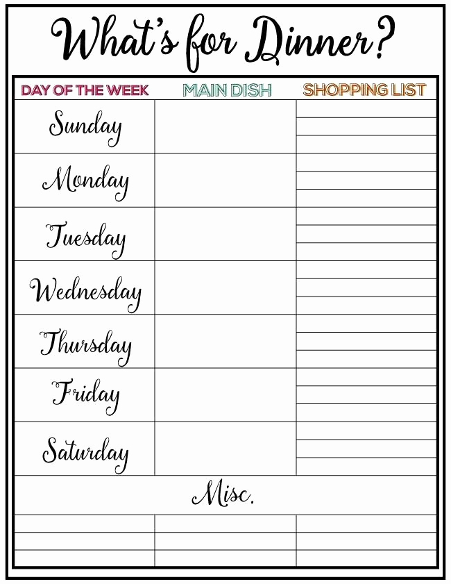 Weekly Dinner Menu Template Luxury Weekly Meal Plan Printable Week 9