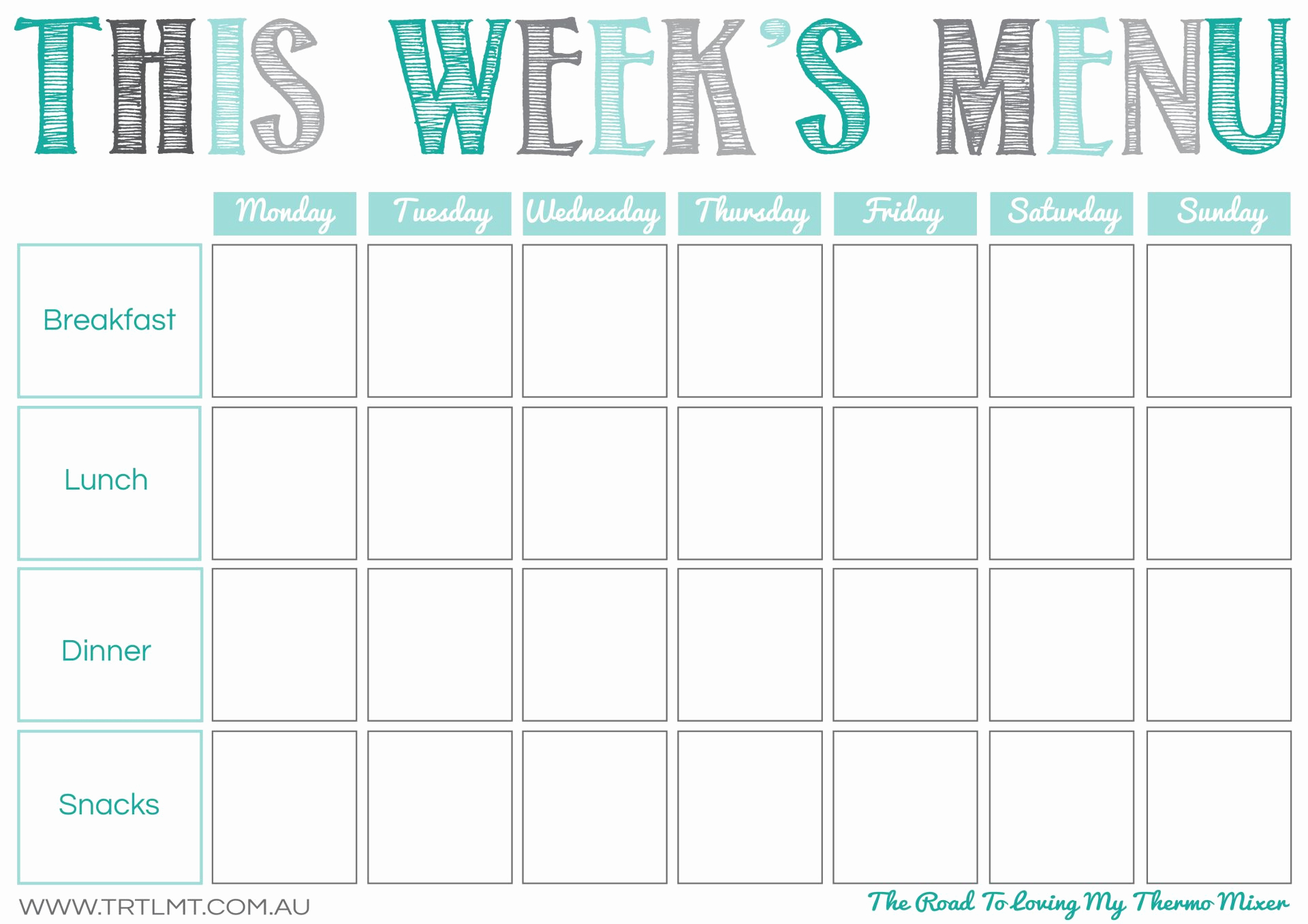 Weekly Dinner Menu Template New Printables – the Road to Loving My thermo Mixer