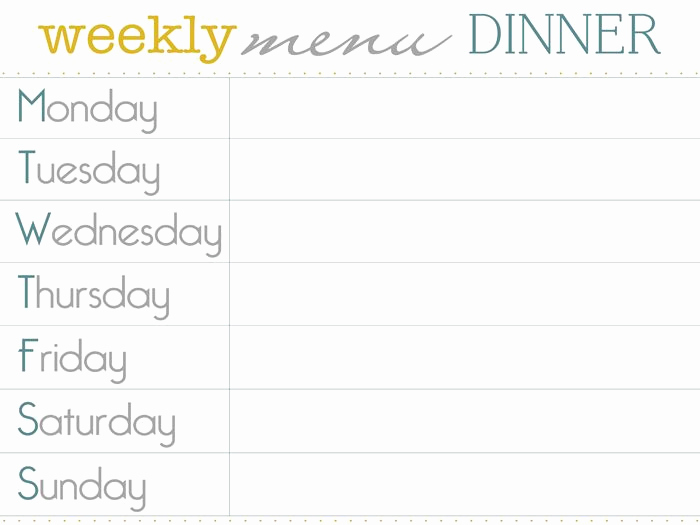Weekly Dinner Menu Template Unique Menu Planner Dinner Sm Menu Planner