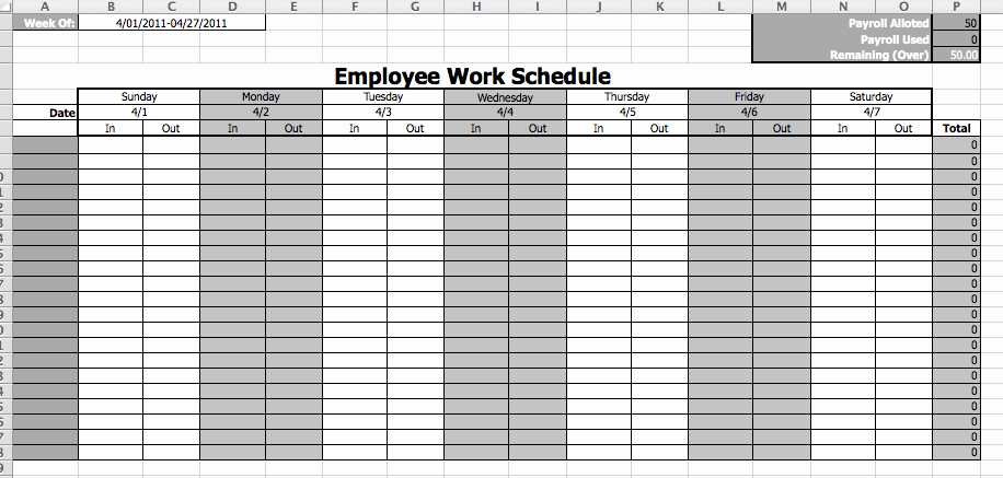 Weekly Employee Schedule Template Awesome Employee Work Schedule Template Microsoft Fice Templates