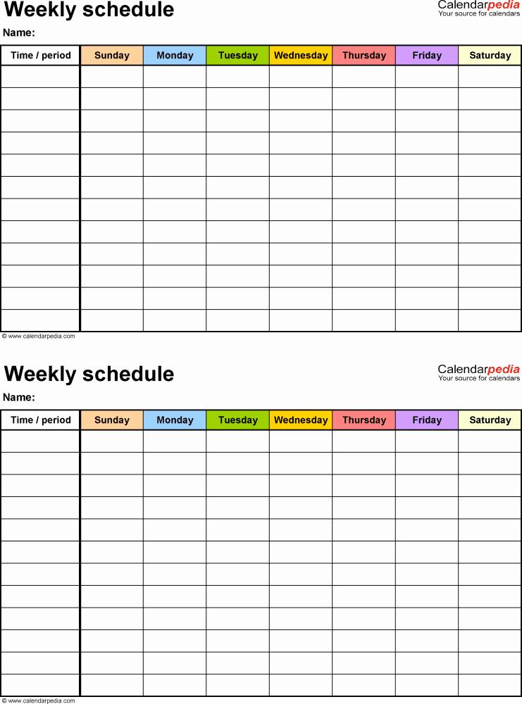 Weekly Employee Schedule Template Beautiful Free Weekly Schedule Templates for Word 18 Templates