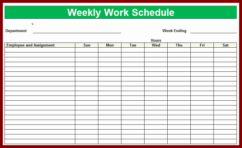 Weekly Employee Schedule Template Fresh Weekly Employee Schedule Template