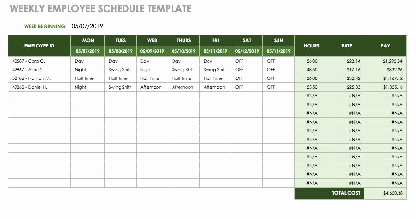 Weekly Employee Schedule Template Inspirational 17 Free Timesheet and Time Card Templates