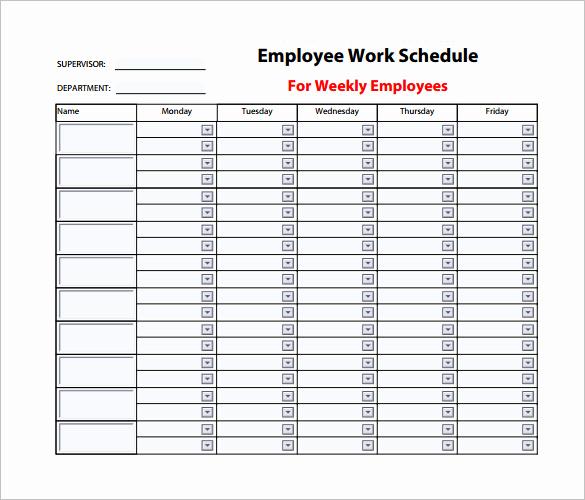 Weekly Employee Schedule Template Inspirational 9 Weekly Work Schedule Templates Pdf Doc