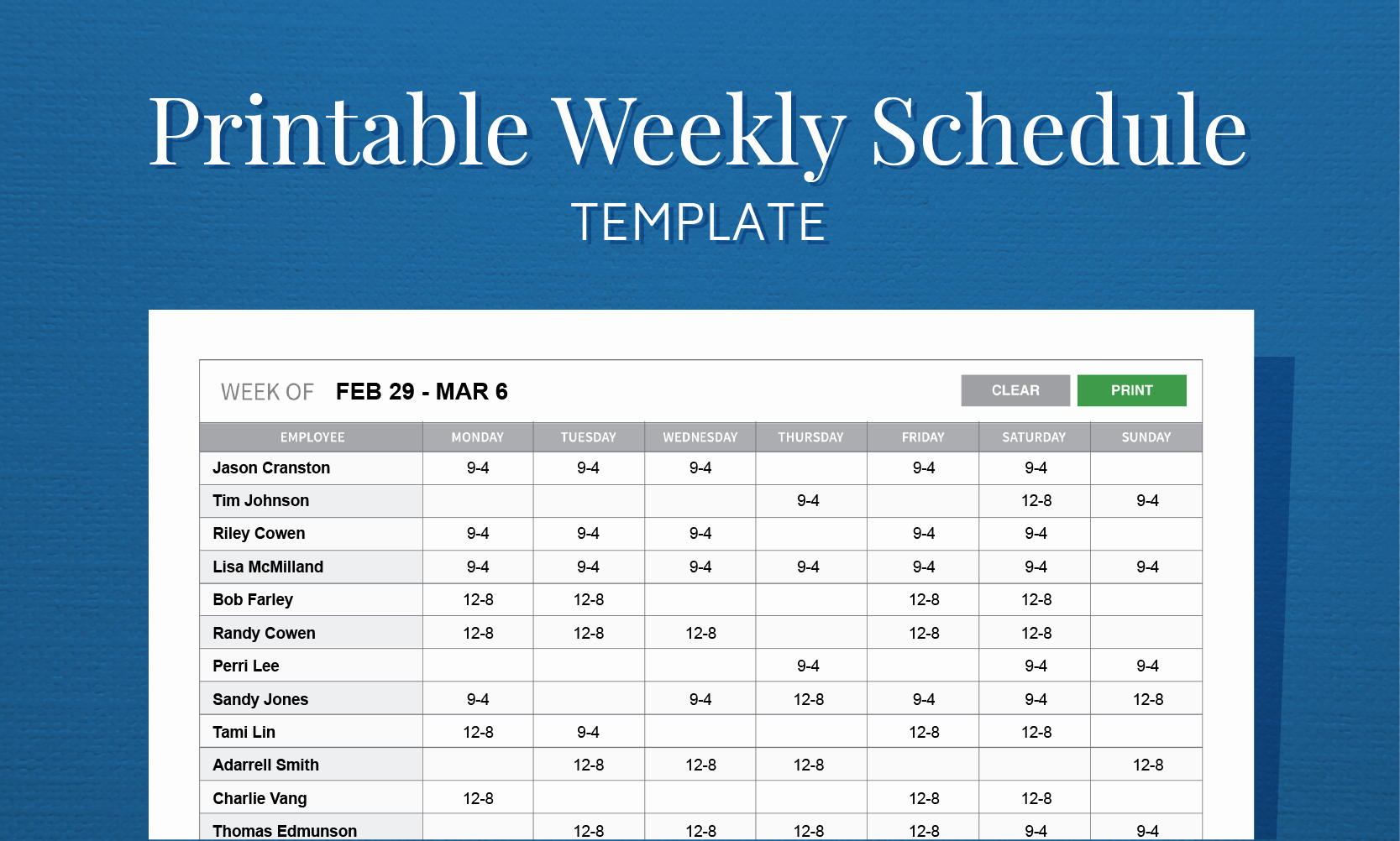 Weekly Employee Schedule Template Inspirational Free Printable Work Schedule Template for Employee