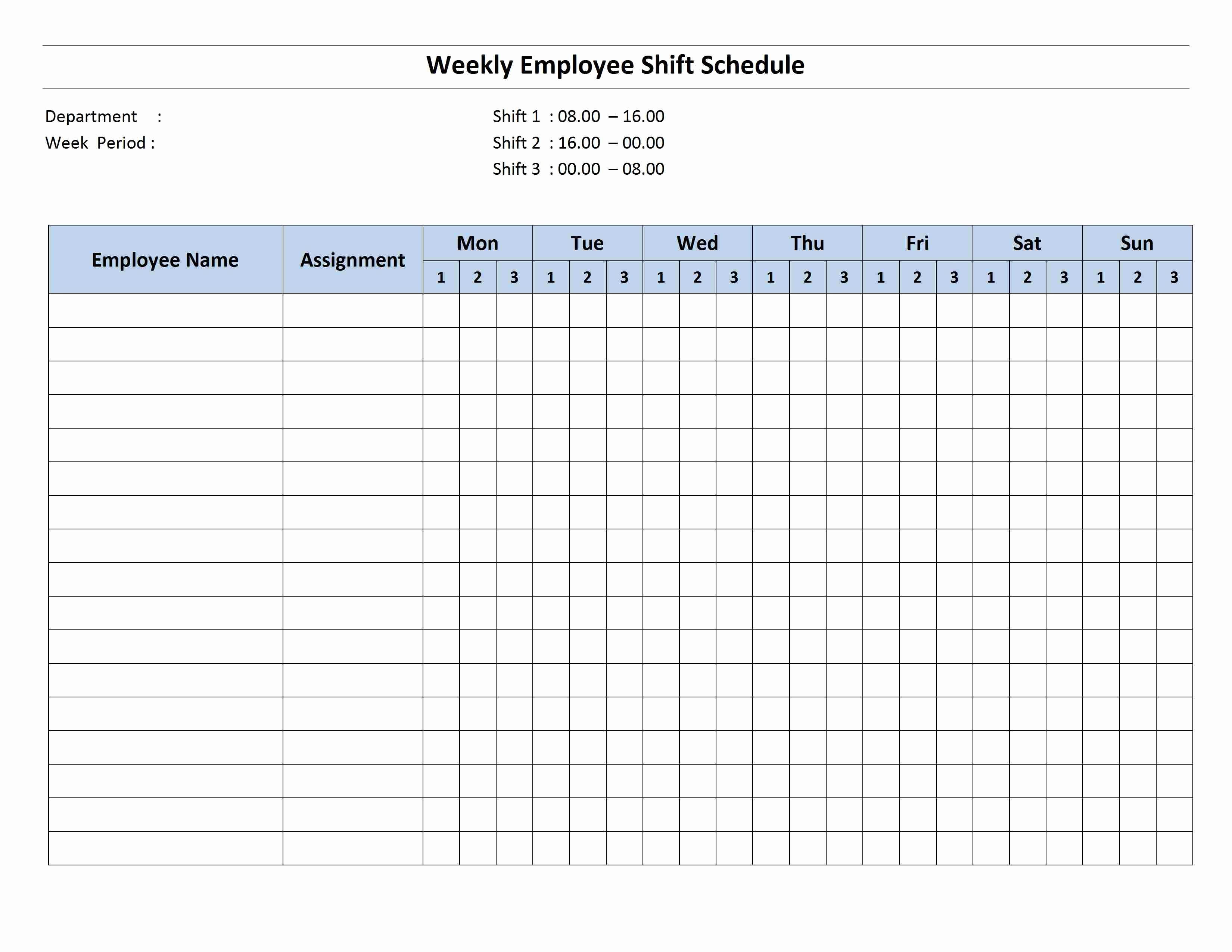 Weekly Employee Schedule Template Luxury Free Monthly Work Schedule Template