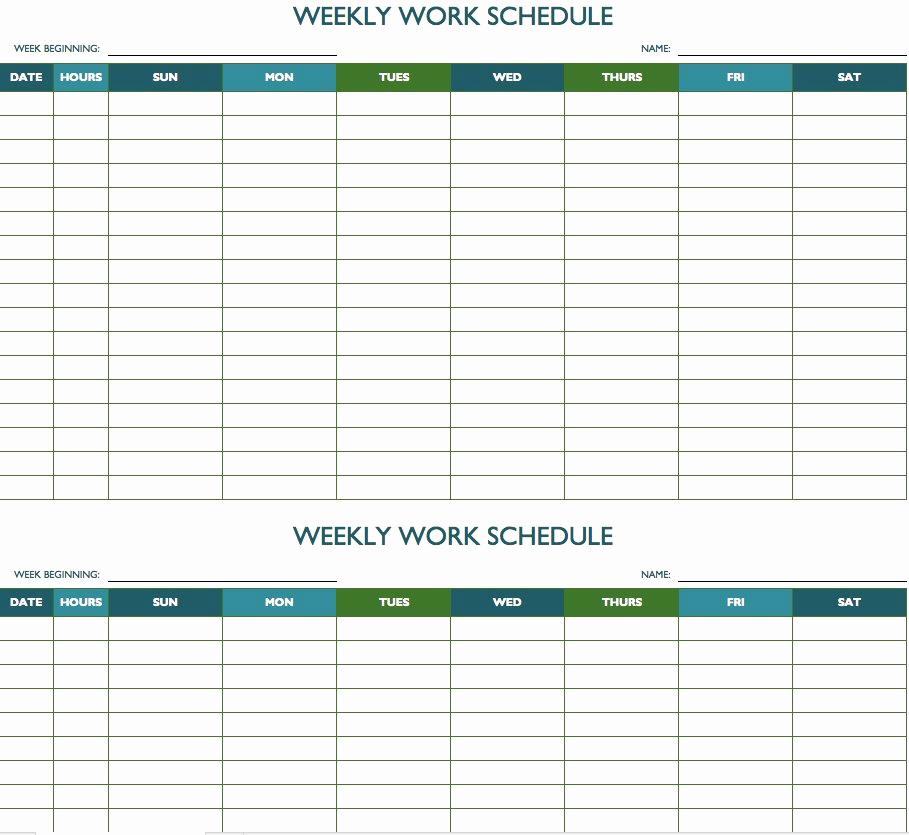 Weekly Employee Schedule Template Luxury Free Weekly Schedule Templates for Excel Smartsheet