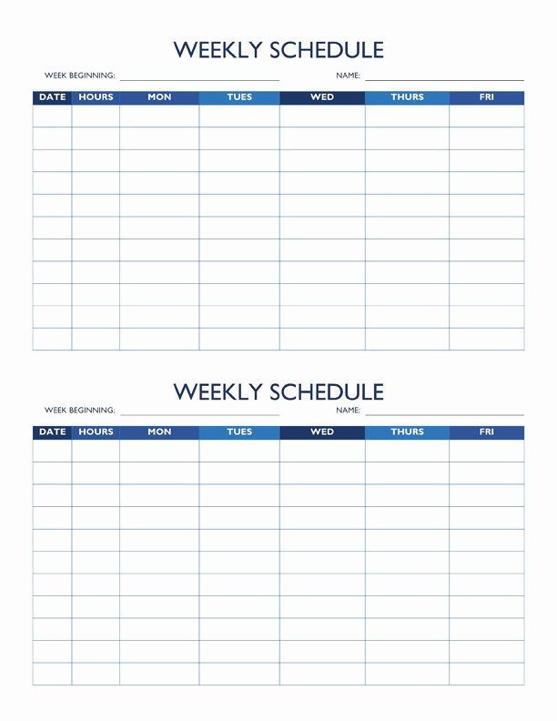 Weekly Employee Schedule Template Luxury Free Work Schedule Templates for Word and Excel