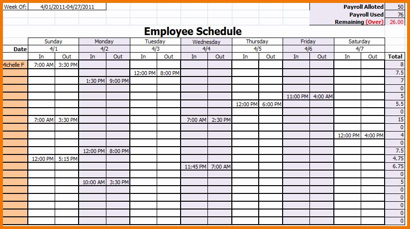 Weekly Employee Schedule Template Unique Monthly Work Schedule Template