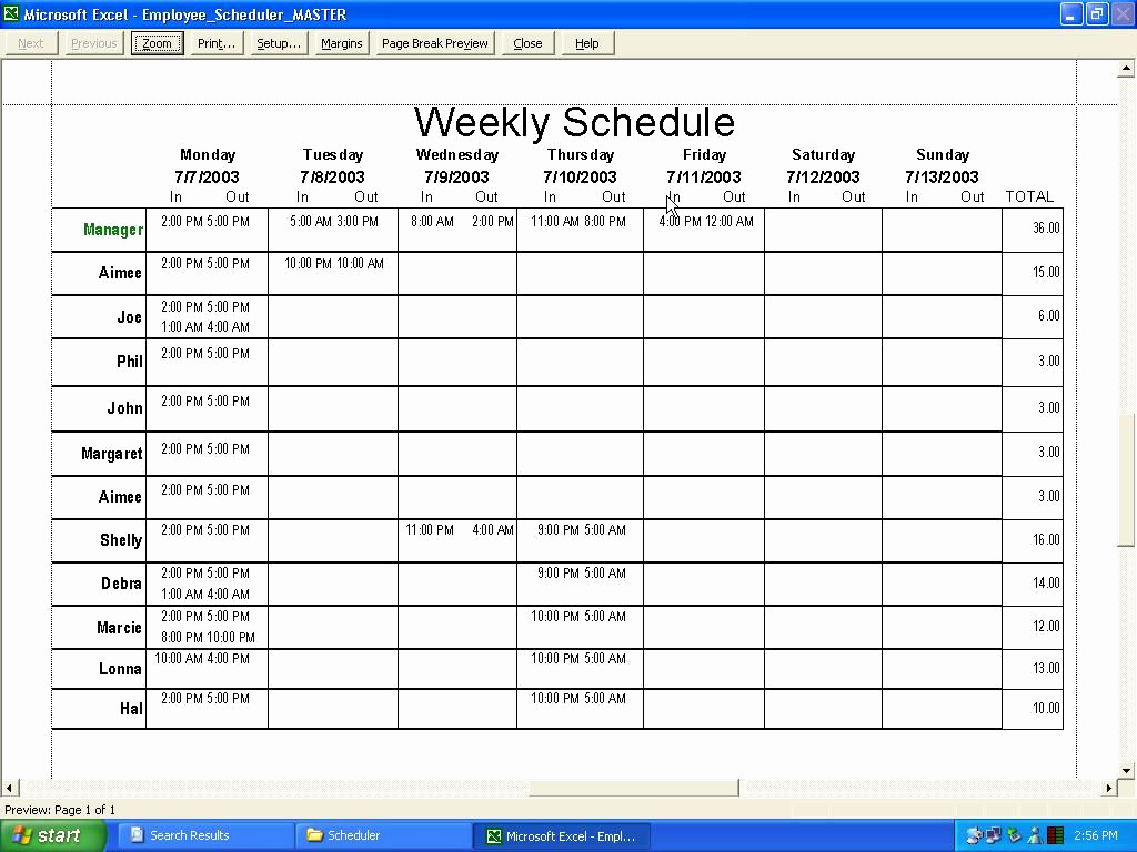 Weekly Employee Schedule Template Unique Weekly Employee Schedule Template Excel