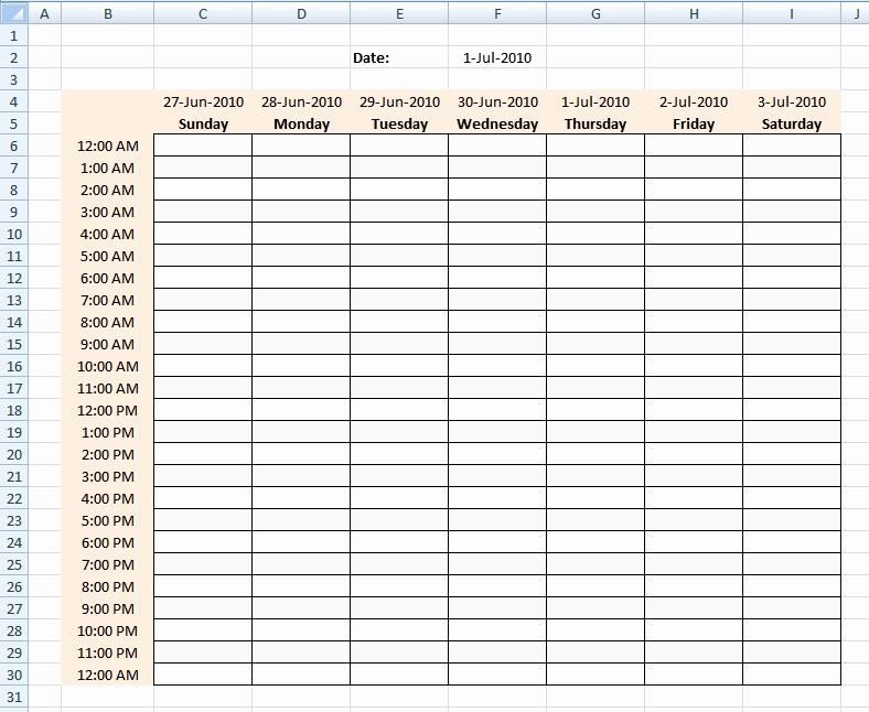 Weekly Hourly Schedule Template Best Of Excel Weekly Hourly Schedule Template