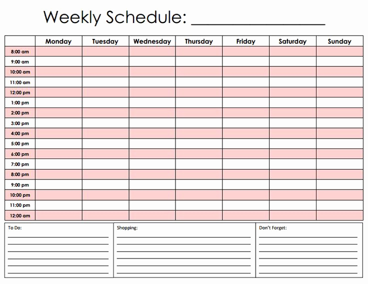 Weekly Hourly Schedule Template Inspirational Hourly Schedule Pdf for the Home