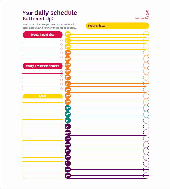 Weekly Hourly Schedule Template New Day Schedule Template – 7 Free Word Excel Pdf format