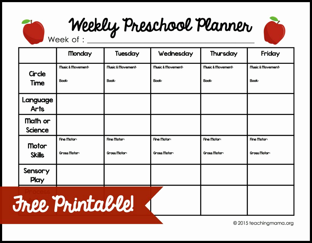 Weekly Lesson Plan for Preschool Best Of Weekly Preschool Planner