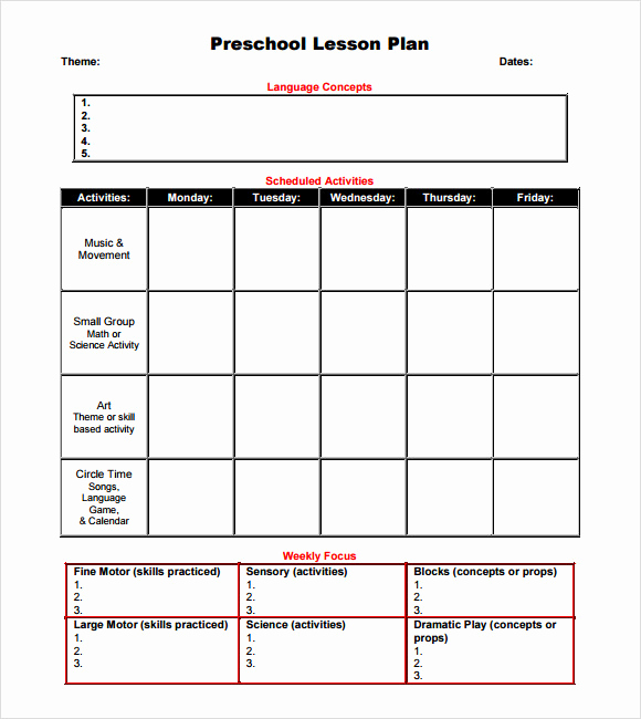 Weekly Lesson Plan for Preschool Luxury Sample Preschool Lesson Plan 10 Pdf Word formats