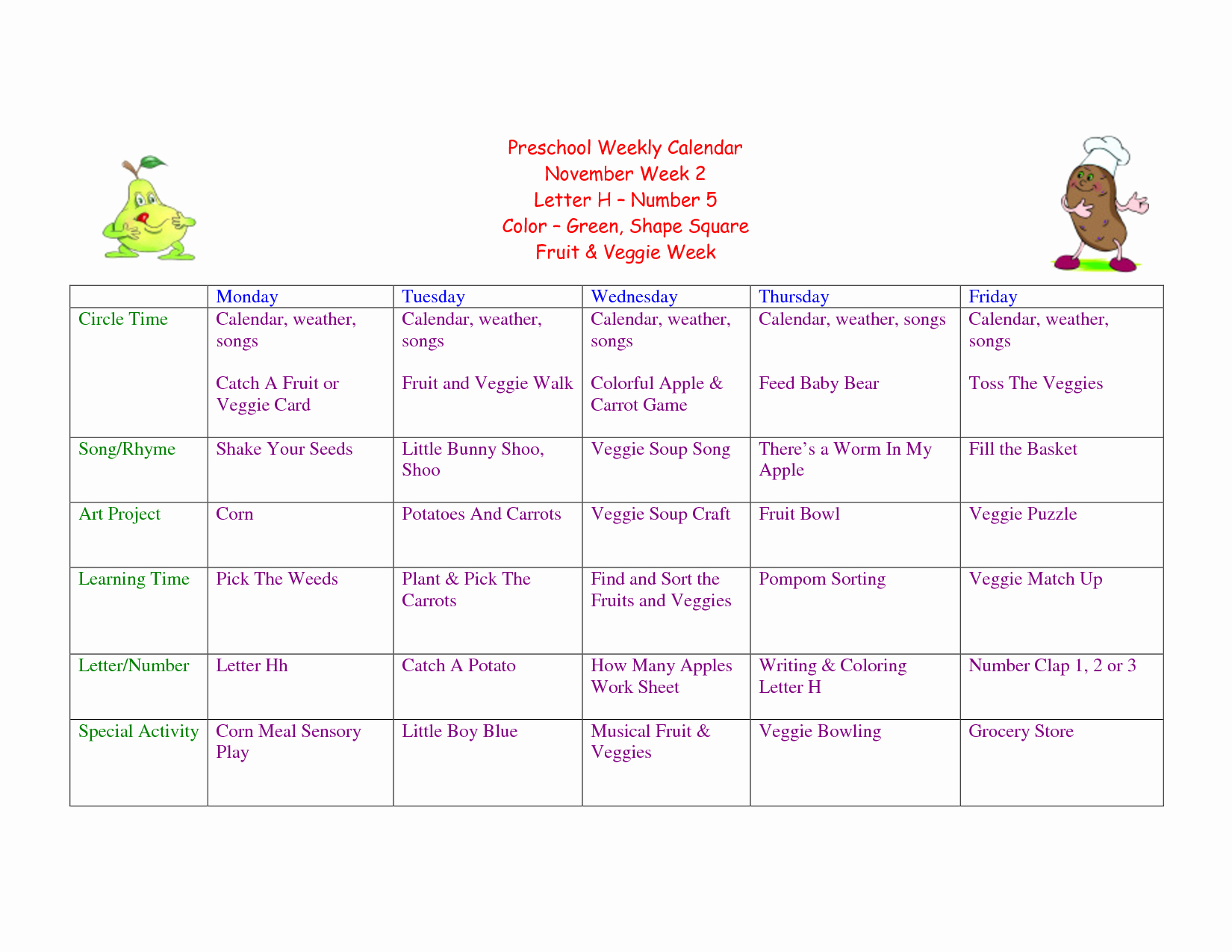 Weekly Lesson Plan for Preschool New Preschool Summer Lesson Plans