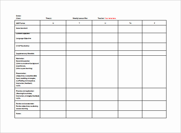 Weekly Lesson Plan Template Pdf Best Of Teacher Lesson Plan Template 8 Free Sample Example