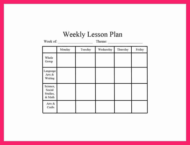 Weekly Lesson Plan Template Pdf Fresh Weekly Lesson Plan Template