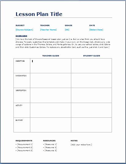 teacher daily lesson planner template