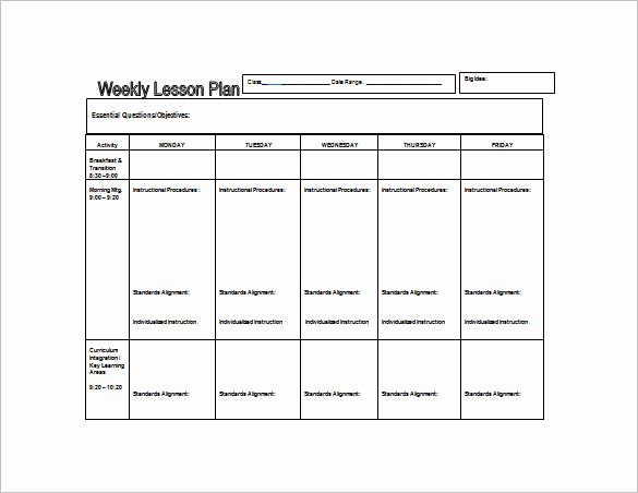 Weekly Lesson Plan Template Word New Weekly Lesson Plan Template 8 Free Word Excel Pdf