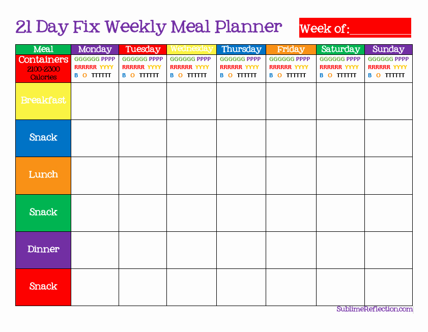 Weekly Meal Plan Template Beautiful How to Create A 21 Day Fix Meal Plan Sublime Reflection