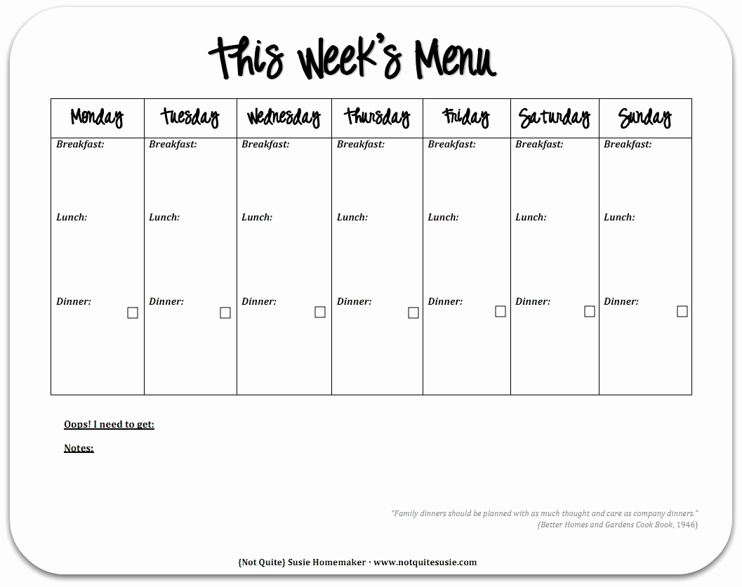 Weekly Meal Plan Template Fresh Free Printable Weekly Meal Planner Not Quite Susie